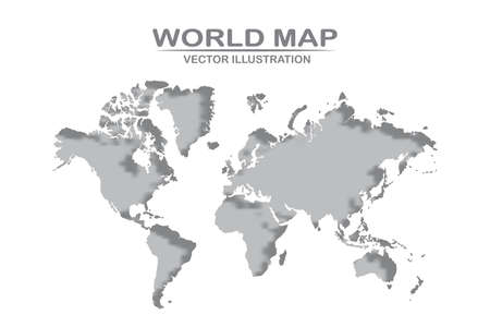 World map detailed design of white color cut from paper.