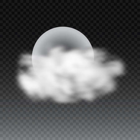 Realistic deatailed full moon with clouds isolated on transparent background.