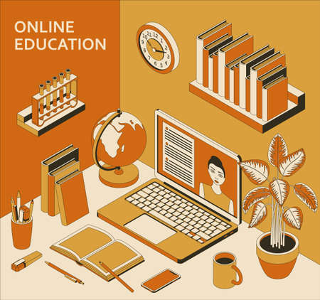 Online education concept with laptop, books, globe and coffee. Study at home, online courses. Vector illustration.