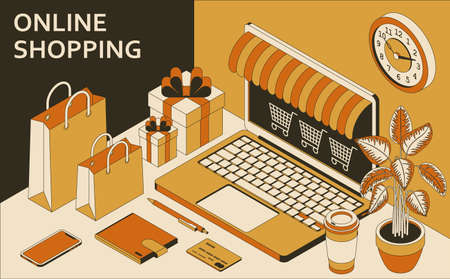Online shopping isometric concept with open laptop, shopping bags, gift boxes, wallet and coffee. Vector illustration Illustration