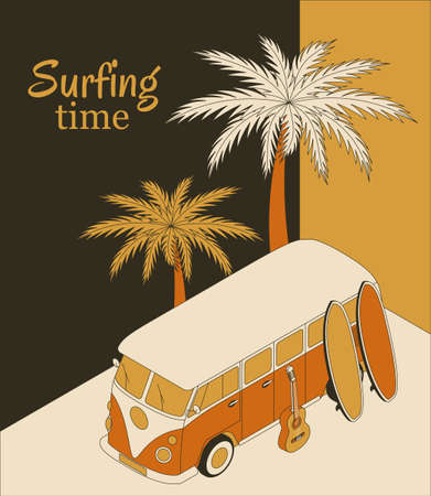 Isometric background with retro bus, two surfboards, guitar and palm trees. Surfing time banner