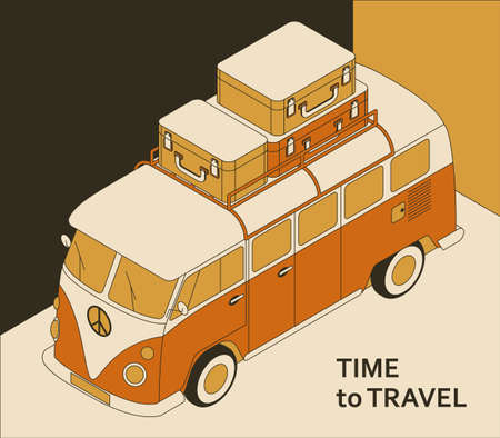 Time to travel background with retro bus and suitcases. Tourism concept in isometric style Illustration