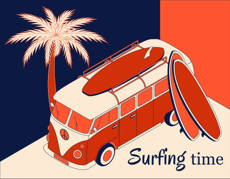 Isometric background with retro bus, two surfboards and palm tree. Surfing time banner