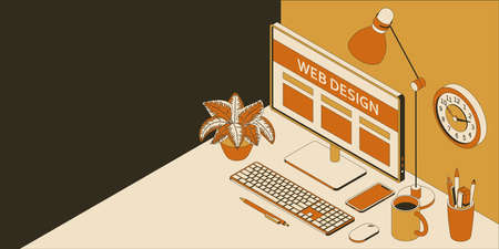 Isometric work place in web design studio with computer, smartphone, clock and lamp. Vector illustration. Illustration