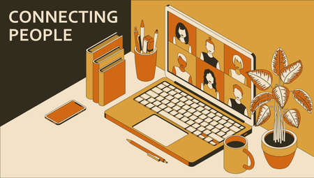 Laptop with group of people doing video conference. Learning or meeting online with teleconference. Vector illustration.