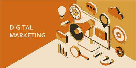 Digital marketing isometric background. Marketing technology concept. Promotion and social media communication Illustration