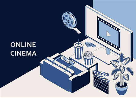 Online cinema isometric concept with computer monitor, sofa, popcorn, drink, clapperboard, 3d glasses and filmstrip 向量圖像