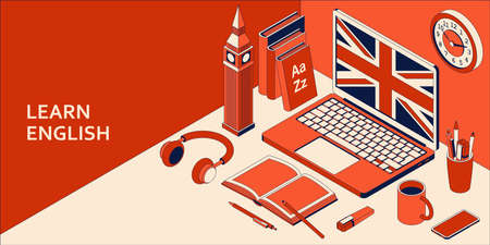 Learn English isometric concept with open laptop, books, headphones, and coffee