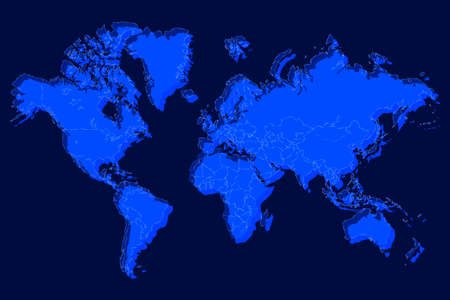 Political world map with shadow isolated on blue background, vector illustration