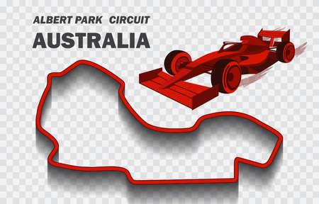 Australian grand prix race track. Detailed racetrack or national circuit for motorsport and formula1 qualification. Vector illustration.