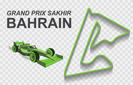 Bahrain grand prix race track . Detailed racetrack or national circuit for motorsport and formula1 qualification. Vector illustration. 免版税图像 - 157900300