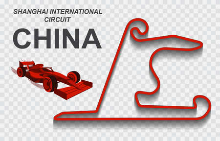 China grand prix race track. Detailed racetrack or national circuit for motorsport and formula1 qualification. Vector illustration.