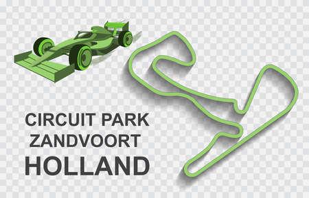 Holland grand prix race track . Detailed racetrack or national circuit for motorsport and formula1 qualification. Vector illustration.