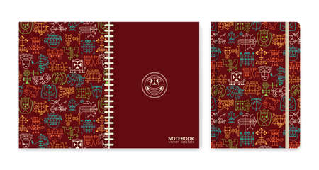 Cover design for notebooks or scrapbooks with occult sigils. Vector illustration.