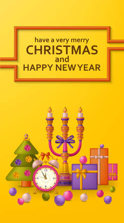 Merry Christmas background and Happy New Year golden balls, gift boxes and alarm clock. Fir and candelabrum. Greeting card and Xmas template. Five minutes to midnight. Vector illustration. Vettoriali