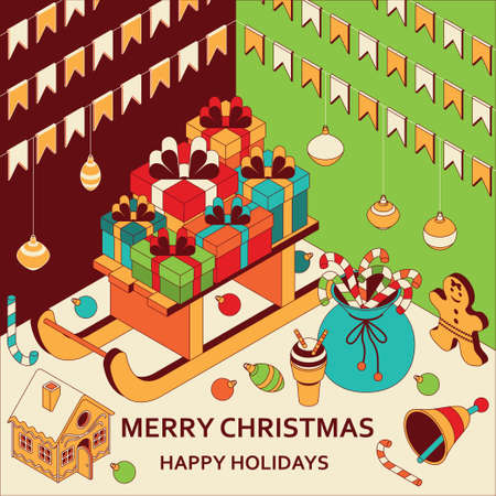 Christmas background with isometric cute toys. Sled with gifts and gingerbread house. Xmas greeting card or banner concept. Vector illustration. Vettoriali