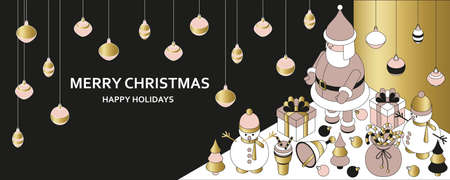 Christmas background with isometric cute toys. Funny Santa and showmans. Xmas greeting card or banner concept. Vector illustration.