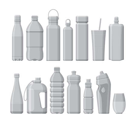 Set of different sport and plastic water bottles isolated on white. Vector illustration