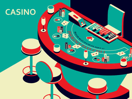 Casino black jack table in isometric flat style. Chips and card deck. Vector illustration. Vektorové ilustrace