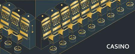 Casino slot machine in isometric flat style. One arm gambling device. Vector illustration. Stock Illustratie