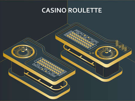 Casino roulette table in isometric flat style. Wheel, chips and dices. Vector illustration.
