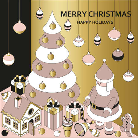 Christmas background with isometric cute toys. Funny Santa and gingerbread house. Xmas greeting card or banner concept. Vector illustration.