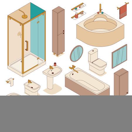 Set of bathroom furniture for interior design. Vector illustration