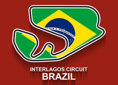 Brazil grand prix race track  with flag. Detailed racetrack or national circuit for motorsport and formula1 qualification. Vector illustration.