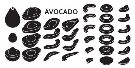 Set of fresh whole and sliced avocado isolated on white background in isometric style. Vector illustration