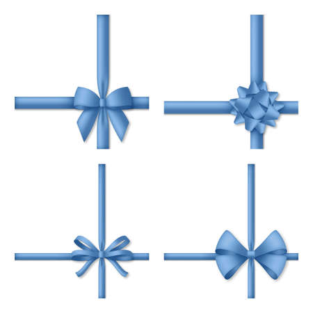 Decorative blue bow with ribbons. Gift box wrapping and holiday decoration Illustration