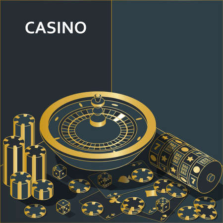 Casino banner. Roulette and slot, chips, dices and cards. Vector illustration.