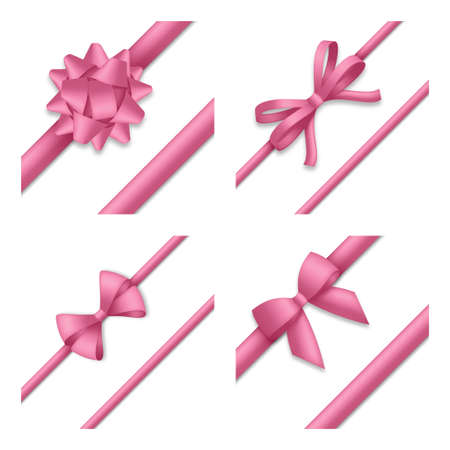 Decorative pink bow with ribbons. Gift box wrapping and holiday decoration