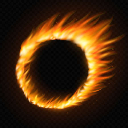 Realistic round light fire flame frame