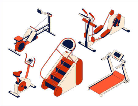 Fitness club equipment collection. Isometric set of training apparatus. Vector illustration Illustration