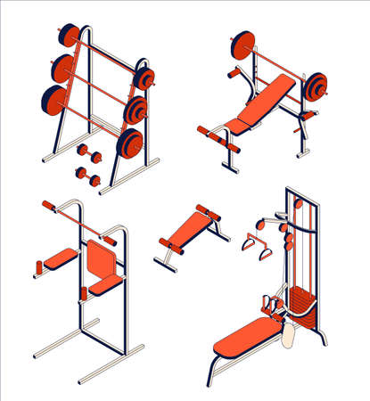 Gym and fitness club equipment collection. Isometric set of training apparatus. Vector illustration Illustration