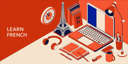 Learn French isometric concept with open laptop, books, headphones, and coffee. Vector illustration