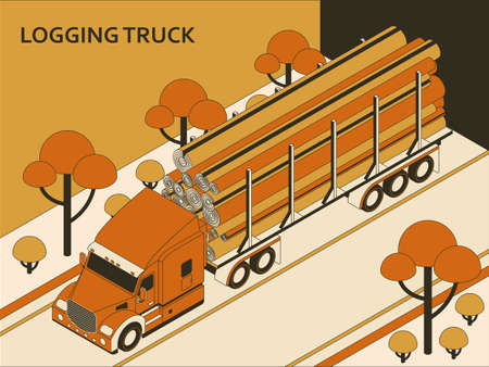 Isometric semi truck with orange cab transporting commercial cargo moving on the highway. Vector illustration Illustration