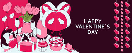 Happy Valentine Day background with cute isometric elements. Greeting card and Love template. Vector illustration.