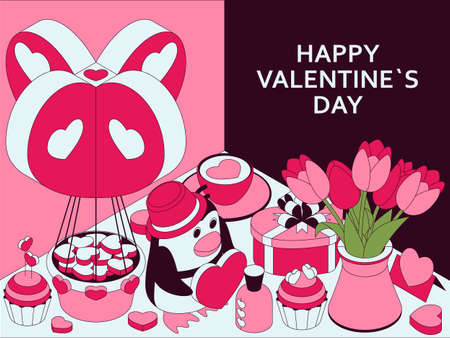 Happy Valentine Day background with cute isometric elements