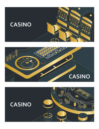 Set of casino banners. Roulette table, slot machine and black jack. Vector illustration.  イラスト・ベクター素材