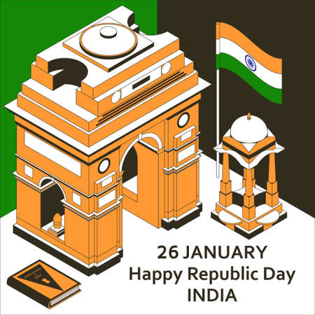 26th of January India Republic Day. Greeting card in isometric style with Indian Gates. Vector illustration.
