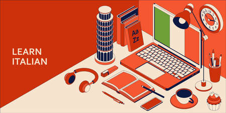 Learn Italian language isometric concept with open laptop, books, headphones, and coffee. Vector illustration