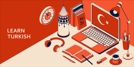 Learn Turkish language isometric concept with open laptop, books, headphones, and coffee 向量圖像