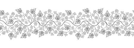 Arabesque Arabic seamless floral pattern. Tree branch with flowers and petals. Vector illustration.