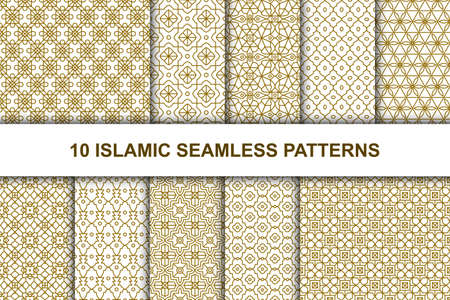 Set of Islamic seamless patterns. Ethnic geometric backgrounds in Arabic style. Vector illustration.