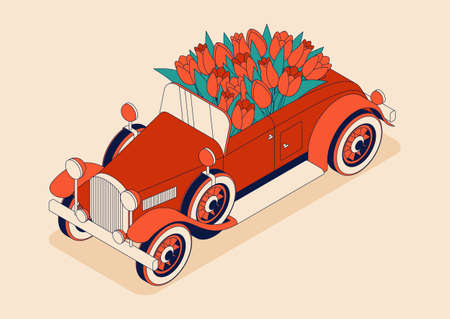 Retro car convertible with big bouquet of tulips. Vintage car from 30s in red color. Greeting card for women on a holiday. Vector illustration