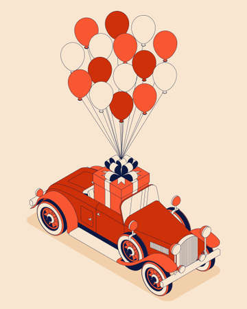 Retro car convertible with big bouquet of tulips. Vintage car from 30s in red color. Greeting card for women on a holiday. Vector illustration 向量圖像