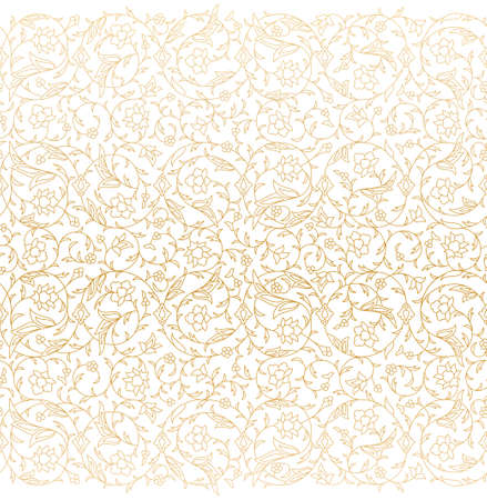 Arabesque Arabic seamless floral pattern. Branches with flowers, leaves and petals. Vector illustration.