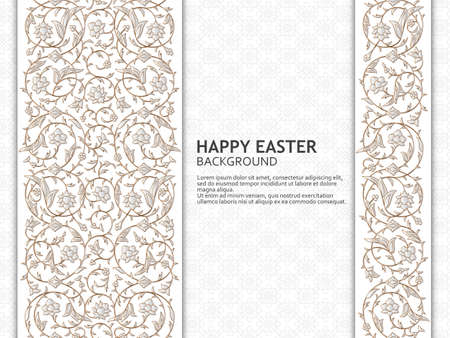 Happy Easter background with arabesque floral pattern. Good design template for banner, greeting card, flyer. Vector illustration.