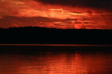 sunset on the lake Stock Photo - 4220926